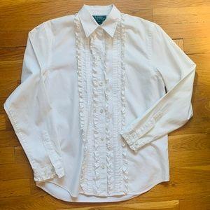 Lauren Ralph Lauren ruffled button up shirt